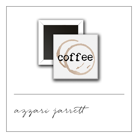 Scrapbook and More 1 inch Square Flair Badge Button White Coffee by Azzari Jarrett