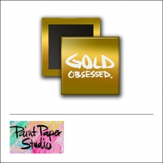 Scrapbook and More 1 inch Square Flair Badge Button [gold foil] Gold Obsessed by Olya Schmidt Paint Paper Studio