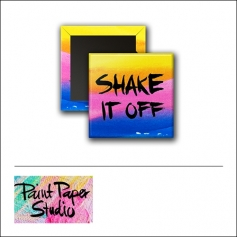 Scrapbook and More 1 inch Square Flair Badge Button Watercolor Shake It Off by Olya Schmidt