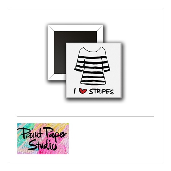 Scrapbook and More 1 inch Square Flair Badge Button I Love Stripes by Olya Schmidt