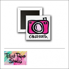 Scrapbook and More 1 inch Square Flair Badge Button Obsessed Camera by Olya Schmidt