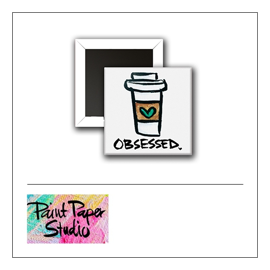 Scrapbook and More 1 inch Square Flair Badge Button Obsessed Paper Cup by Olya Schmidt