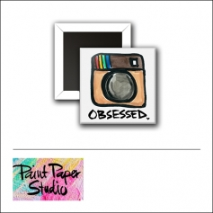 Scrapbook and More 1 inch Square Flair Badge Button Obsessed Instagram by Olya Schmidt