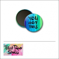 Scrapbook and More 1 inch Round Flair Badge Button Watercolor You Got This by Olya Schmidt