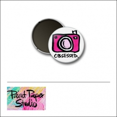 Scrapbook and More 1 inch Round Flair Badge Button Obsessed Camera by Olya Schmidt