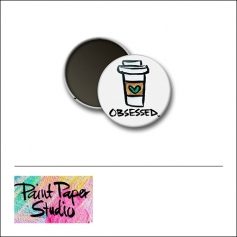 Scrapbook and More 1 inch Round Flair Badge Button Obsessed Paper Cup by Olya Schmidt