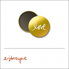 Scrapbook and More Round Flair Badge Button Gold Foil Love by Elise Blaha Cripe