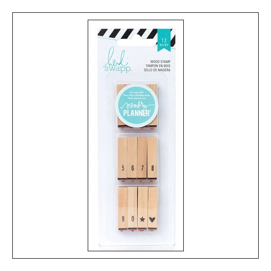 Heidi Swapp Calendar Number Wood Stamps Hello Beautiful Memory Planner Collection