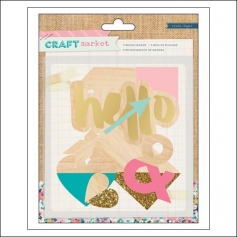 Crate Paper Wood Veneer Shapes With Gold Glitter Craft Market Collection