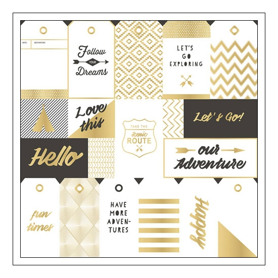 Crate Paper Specialty Paper Gold Foil Tags On Acetate Journey Collection