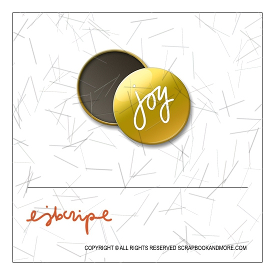 Scrapbook and More 1 inch Round Flair Badge Button Gold Foil Joy by Elise Blaha Cripe