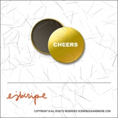 Scrapbook and More 1 inch Round Flair Badge Button Gold Foil Cheers by Elise Blaha Cripe