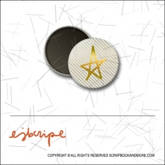 Scrapbook and More 1 inch Round Flair Badge Button Gold Foil Diagonal Stripes Star by Elise Blaha Cripe