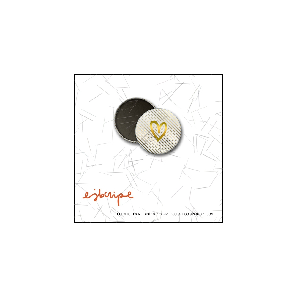 Scrapbook and More 1 inch Round Flair Badge Button Gold Foil Diagonal Stripes Heart by Elise Blaha Cripe