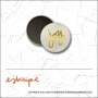 Scrapbook and More 1 inch Round Flair Badge Button Gold Foil Diagonal Stripes Joy by Elise Blaha Cripe