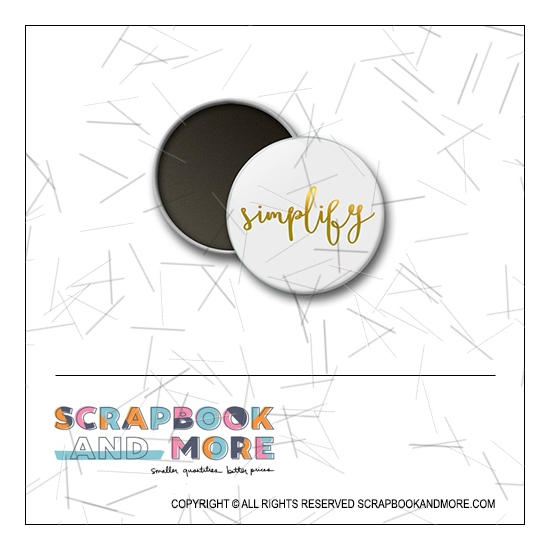 Scrapbook and More 1 inch Round Flair Badge Button Gold Foil Simplify