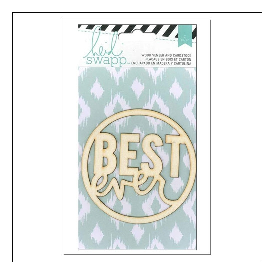 Heidi Swapp Wood Veneer Quote Best Ever and Cardstock Sheet Wanderlust Collection