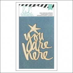 Heidi Swapp Wood Veneer Quote You Are Here and Cardstock Sheet Wanderlust Collection