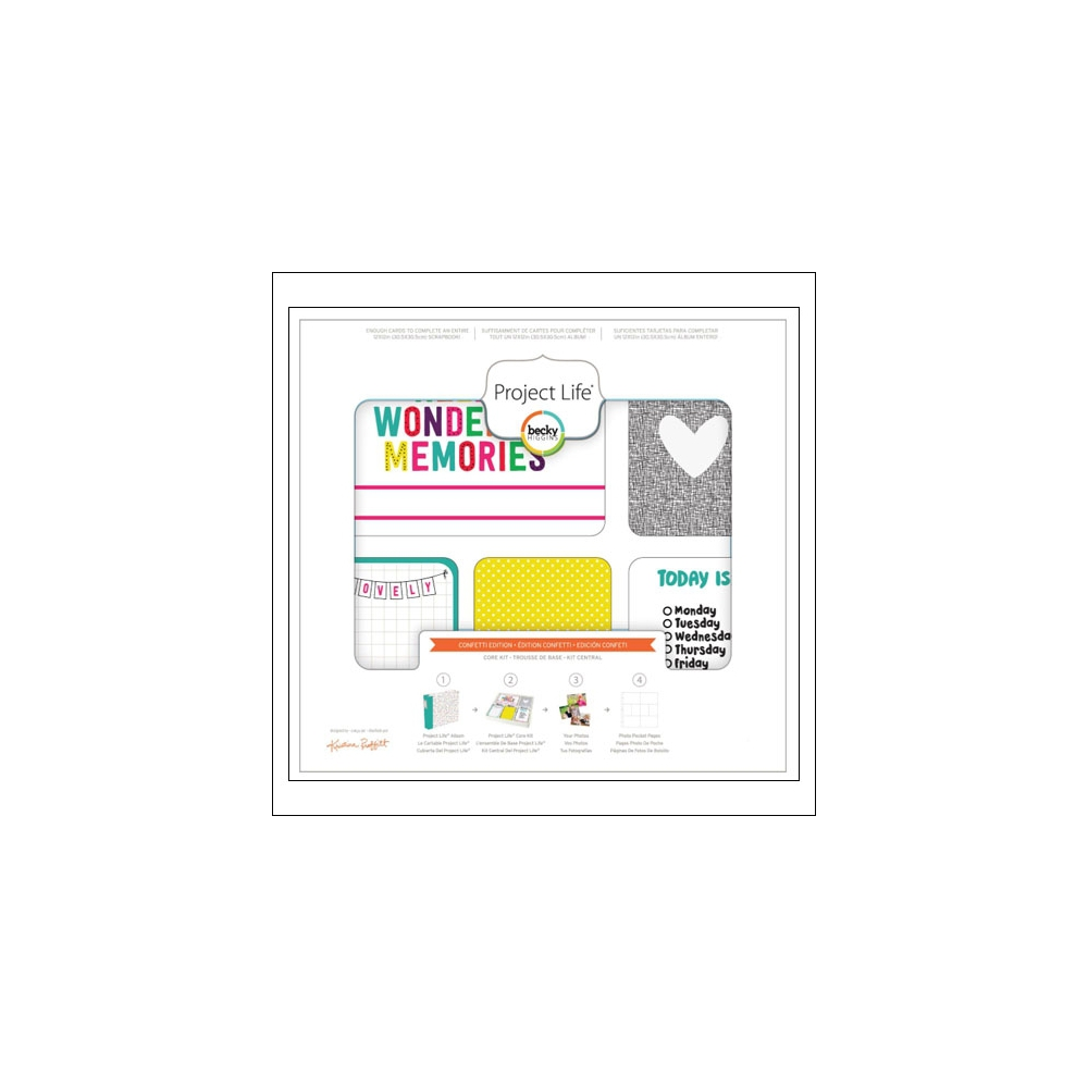 American Crafts Project Life 3x4 inches Core Kit Cards Set Confetti Edition Collection by Kristina Proffitt