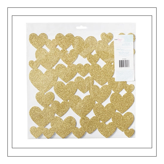 American Crafts Specialty Paper Sheet Die Cut Foam Gold Glitter Hearts Fine and Dandy Collection by Dear Lizzy
