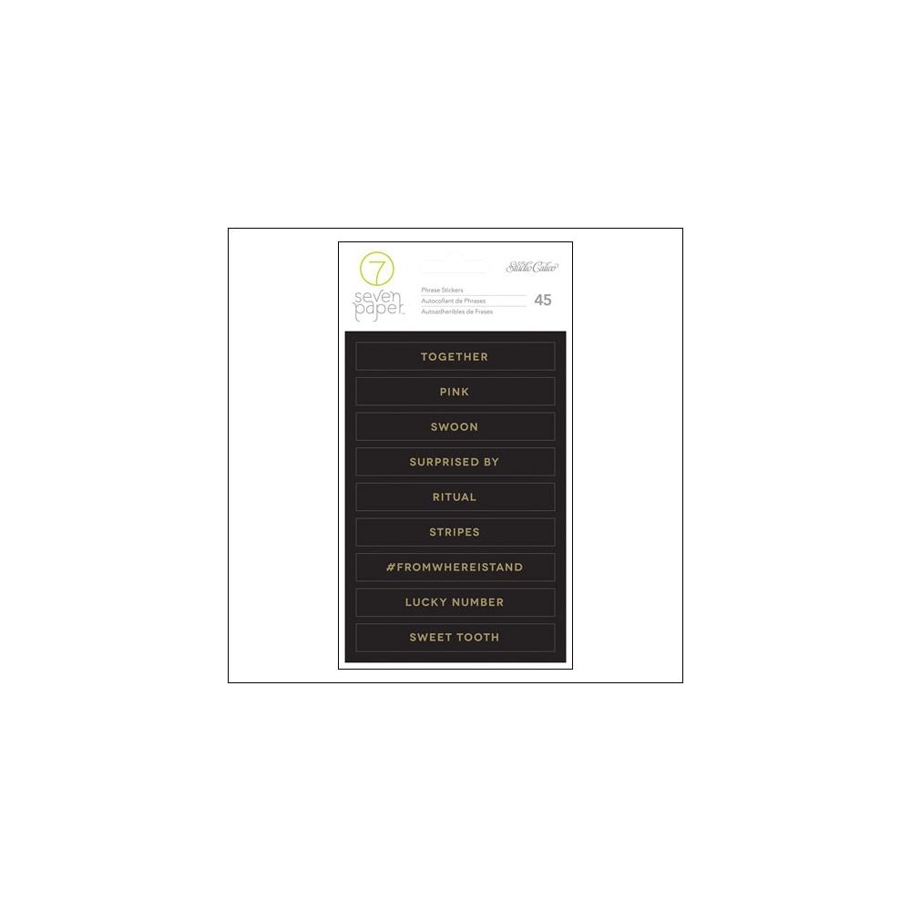 Studio Calico Gold Foil Black Phrase Stickers Seven Paper Amelia Collection
