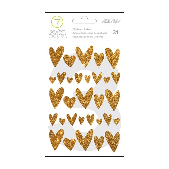 Studio Calico Cardstock Gold Glitter Stickers Hearts Seven Paper Amelia Collection