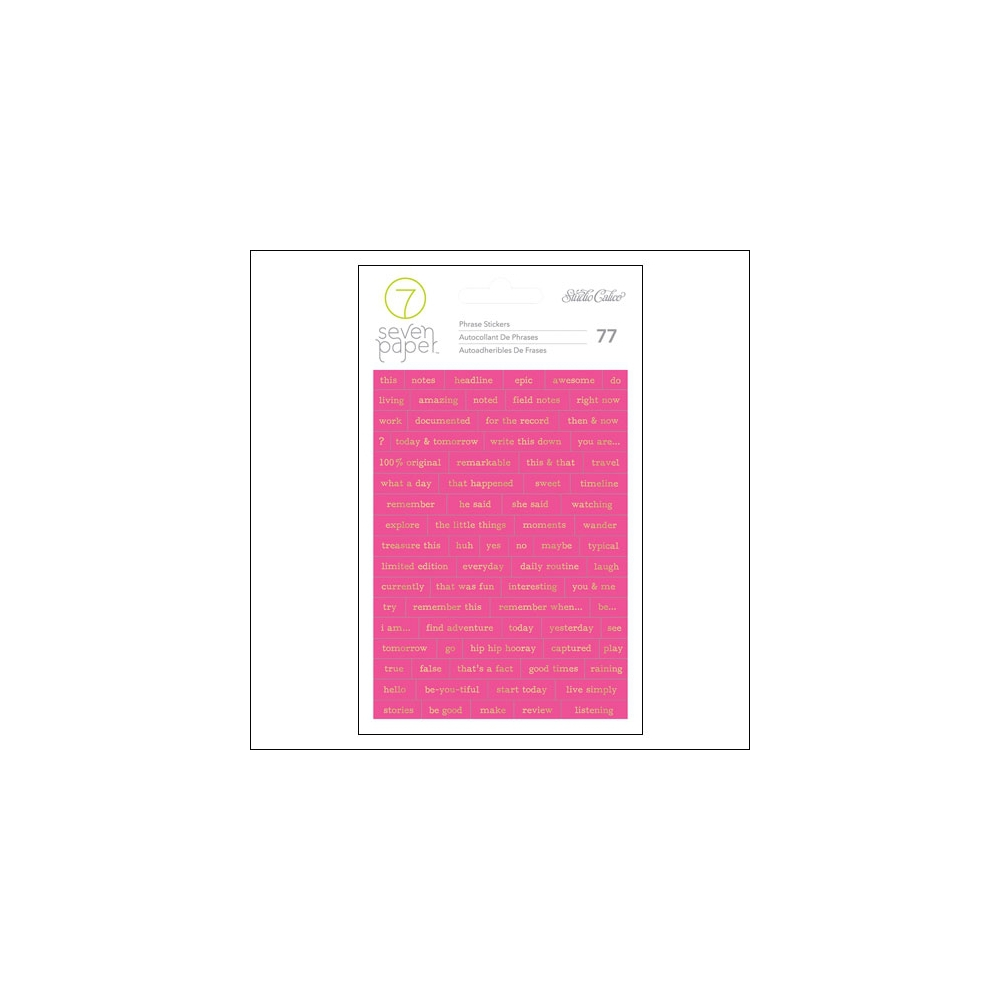 Studio Calico Gold Foil Hot Pink Phrase Stickers Seven Paper Amelia Collection