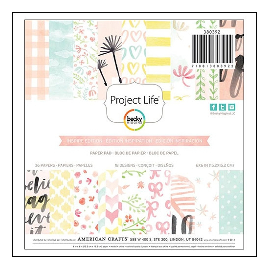 American Crafts Project Life Paper Pad 6x6 inches Inspire Edition Collection by Vanessa Perry