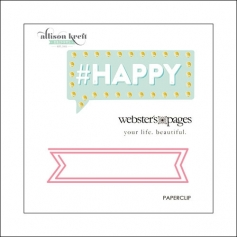 Websters Pages Paperclip Pink Banner Happy Collection by Allison Kreft