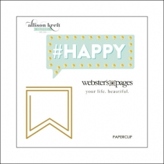 Websters Pages Paperclip Gold Flag Happy Collection by Allison Kreft