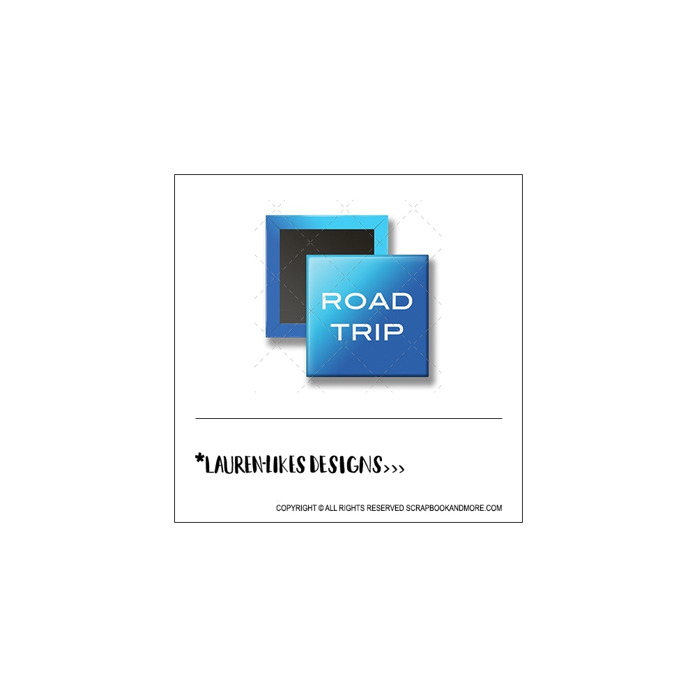 Scrapbook and More 1 inch Square Flair Badge Button Blue Road Trip by Lauren Hooper - Lauren Likes Designs