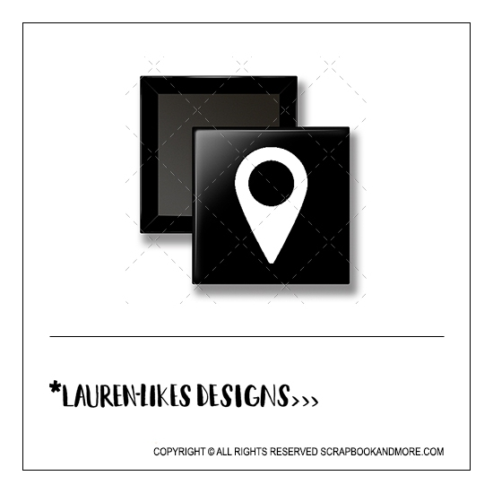 Scrapbook and More 1 inch Square Flair Badge Button Black White Geotag by Lauren Hooper - Lauren Likes Designs