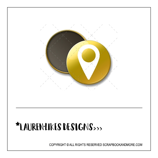 Scrapbook and More 1 inch Round Flair Badge Button Gold Foil White Geotag by Lauren Hooper - Lauren Likes Designs