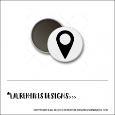 Scrapbook and More 1 inch Round Flair Badge Button White Black Geotag by Lauren Hooper - Lauren Likes Designs
