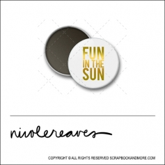 Scrapbook and More 1 inch Round Flair Badge Button White Gold Foil Fun In The Sun by Nicole Reaves