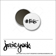 Scrapbook and More 1 inch Round Flair Badge Button White Hashtag Fab by Jodie York Polka Dot Creative