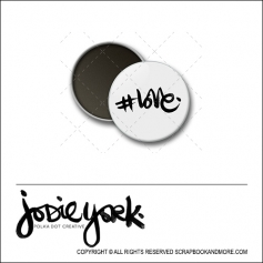 Scrapbook and More 1 inch Round Flair Badge Button White Hashtag Love by Jodie York Polka Dot Creative