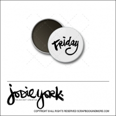 Scrapbook and More 1 inch Round Flair Badge Button White Friday by Jodie York Polka Dot Creative