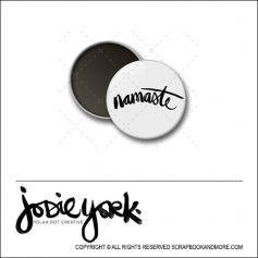 Scrapbook and More 1 inch Round Flair Badge Button White Namaste by Jodie York Polka Dot Creative