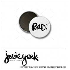 Scrapbook and More 1 inch Round Flair Badge Button White Rad by Jodie York Polka Dot Creative