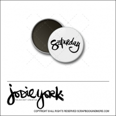 Scrapbook and More 1 inch Round Flair Badge Button White Saturday by Jodie York Polka Dot Creative