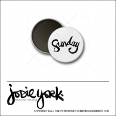 Scrapbook and More 1 inch Round Flair Badge Button White Sunday by Jodie York Polka Dot Creative