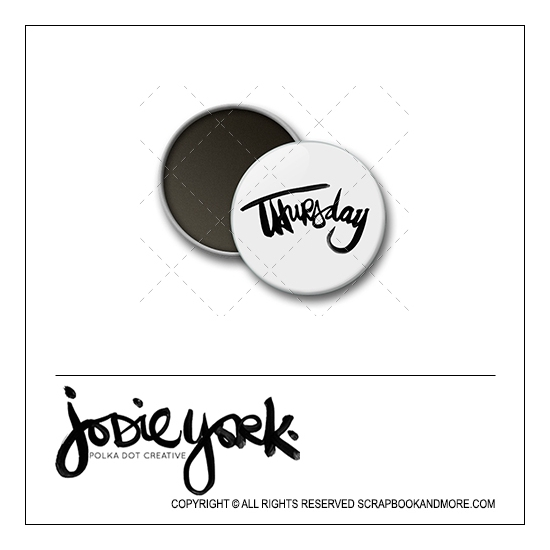 Scrapbook and More 1 inch Round Flair Badge Button White Thursday by Jodie York Polka Dot Creative