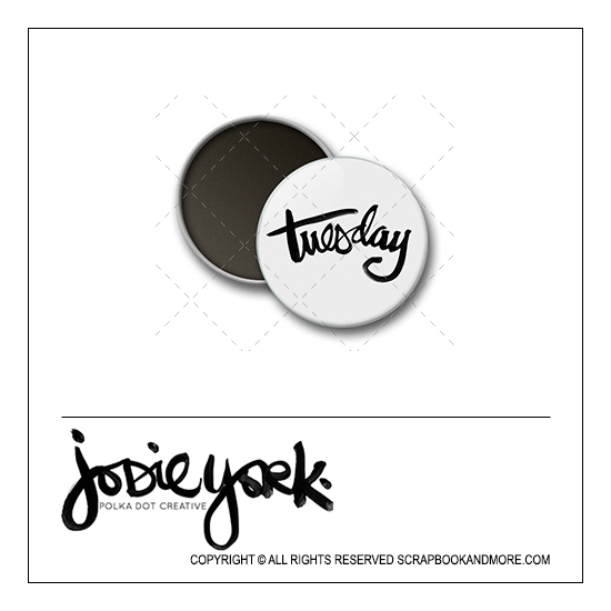 Scrapbook and More 1 inch Round Flair Badge Button White Tuesday by Jodie York Polka Dot Creative