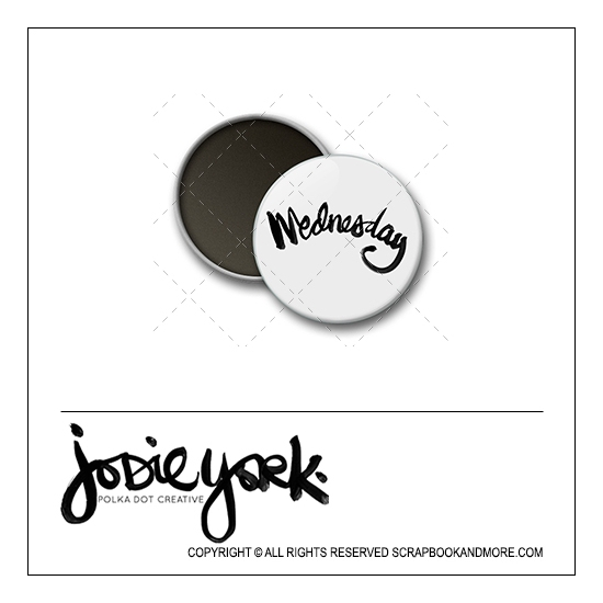 Scrapbook and More 1 inch Round Flair Badge Button White Wednesday by Jodie York Polka Dot Creative