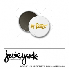 Scrapbook and More 1 inch Round Flair Badge Button White Gold Foil Hashtag Rad by Jodie York Polka Dot Creative