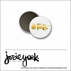 Scrapbook and More 1 inch Round Flair Badge Button White Gold Foil Hashtag Fab by Jodie York Polka Dot Creative