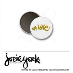 Scrapbook and More 1 inch Round Flair Badge Button White Gold Foil Hashtag Love by Jodie York Polka Dot Creative