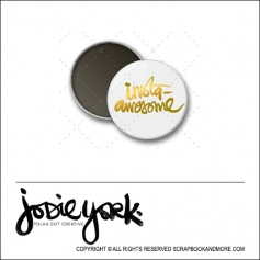Scrapbook and More 1 inch Round Flair Badge Button White Gold Foil Insta Awesome by Jodie York Polka Dot Creative