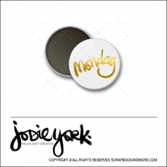 Scrapbook and More 1 inch Round Flair Badge Button White Gold Foil Monday by Jodie York Polka Dot Creative